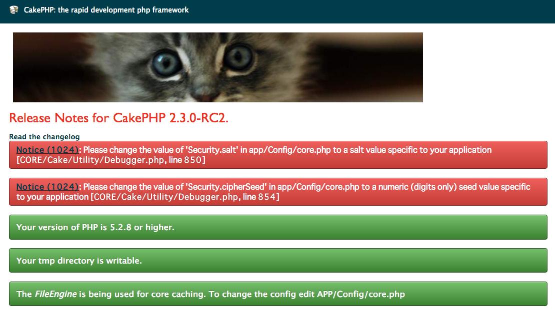 CakePHP error security salt